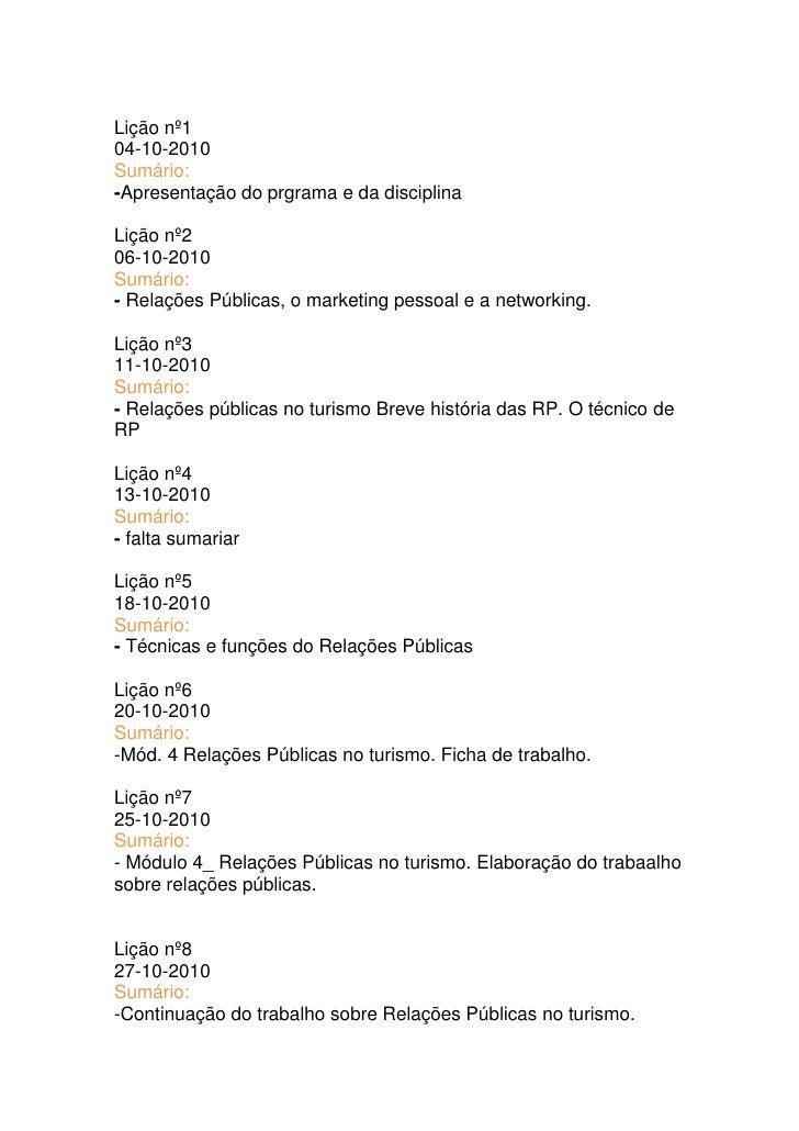 Lição nº1<br />04-10-2010<br />Sumário:<br />-Apresentação do prgrama e da disciplina<br />Lição nº2<br />06-10-2010<br />...
