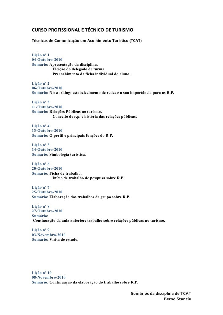 CURSO PROFISSIONAL E TÉCNICO DE TURISMOTécnicas de Comunicação em Acolhimento Turístico (TCAT)Lição nº 104-Outubro-2010Sum...