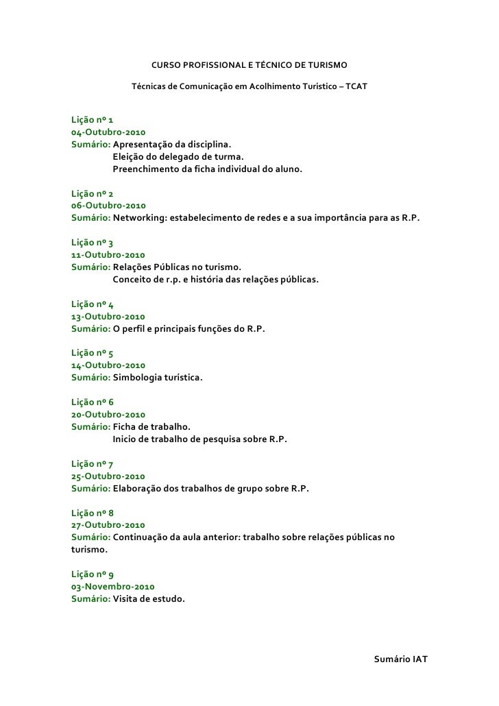 CURSO PROFISSIONAL E TÉCNICO DE TURISMO              Técnicas de Comunicação em Acolhimento Turístico – TCATLição nº 104-O...