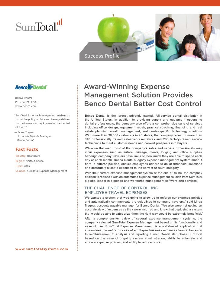Success Profile                                                   Award-Winning Expense Benco Dental                      ...