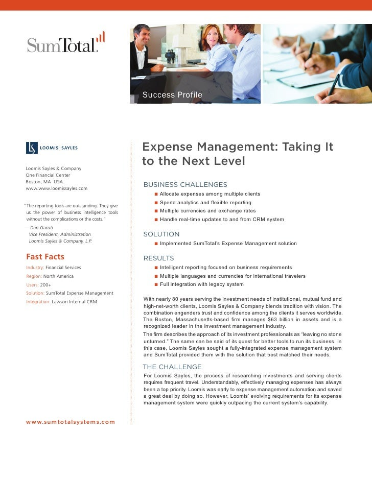 Success Profile                                                  Expense Management: Taking It Loomis Sayles & Company    ...