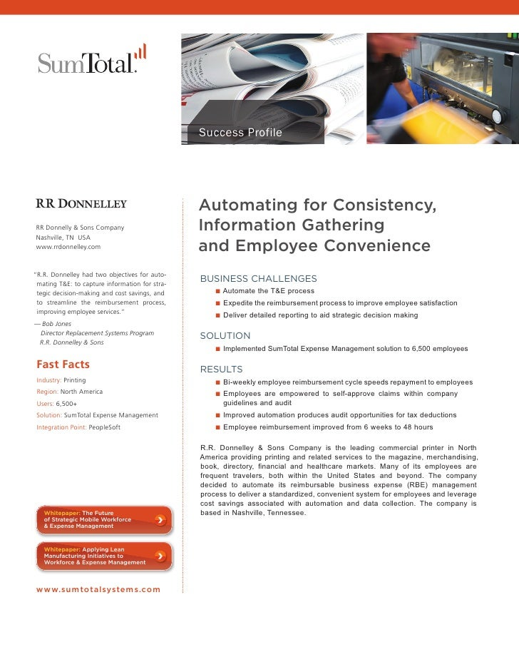 Success Profile                                                      Automating for Consistency,      RR Donnelly & Sons C...