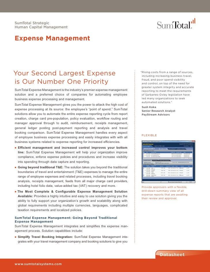 SumTotal StrategicHuman Capital ManagementExpense ManagementYour Second Largest Expense                                   ...