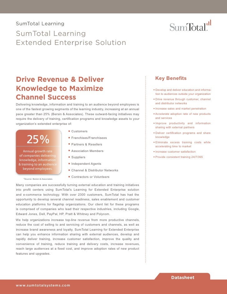SumTotal LearningSumTotal LearningExtended Enterprise SolutionDrive Revenue & Deliver                                     ...