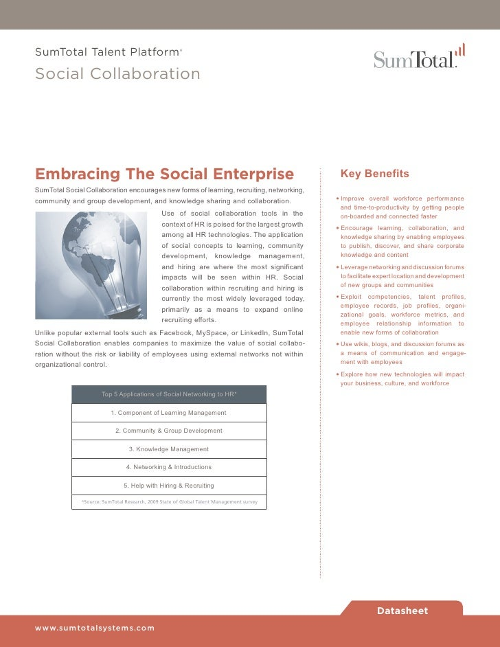 SumTotal Talent Platform®Social CollaborationEmbracing The Social Enterprise                                              ...