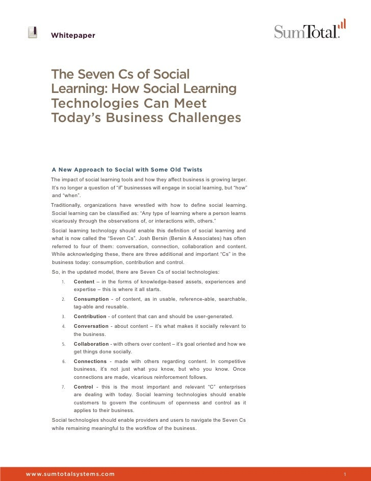 Whitepaper      The Seven Cs of Social      Learning: How Social Learning      Technologies Can Meet      Today's Business...