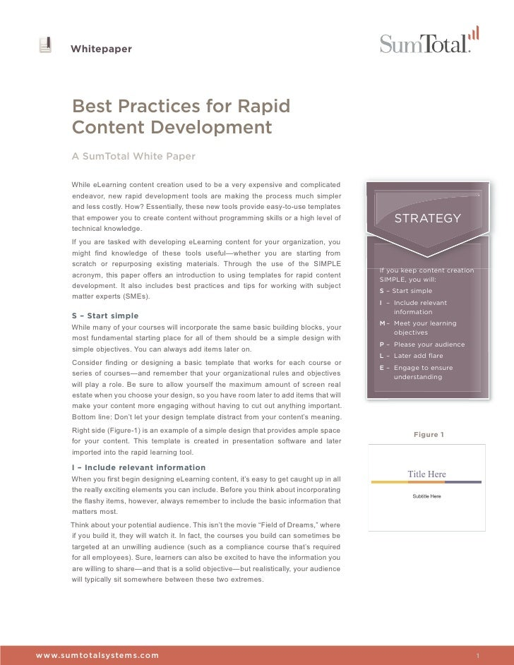 Whitepaper      Best Practices for Rapid      Content Development      A SumTotal White Paper      While eLearning content...