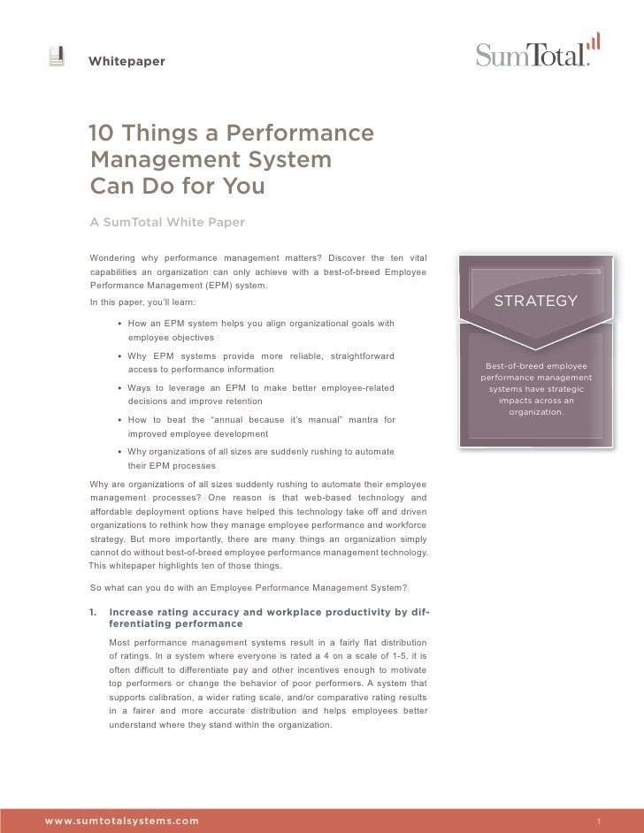 performance management white paper This is a white paper describing performance management diagnostics it is a  diagnostics tool to evaluate the working of performance.