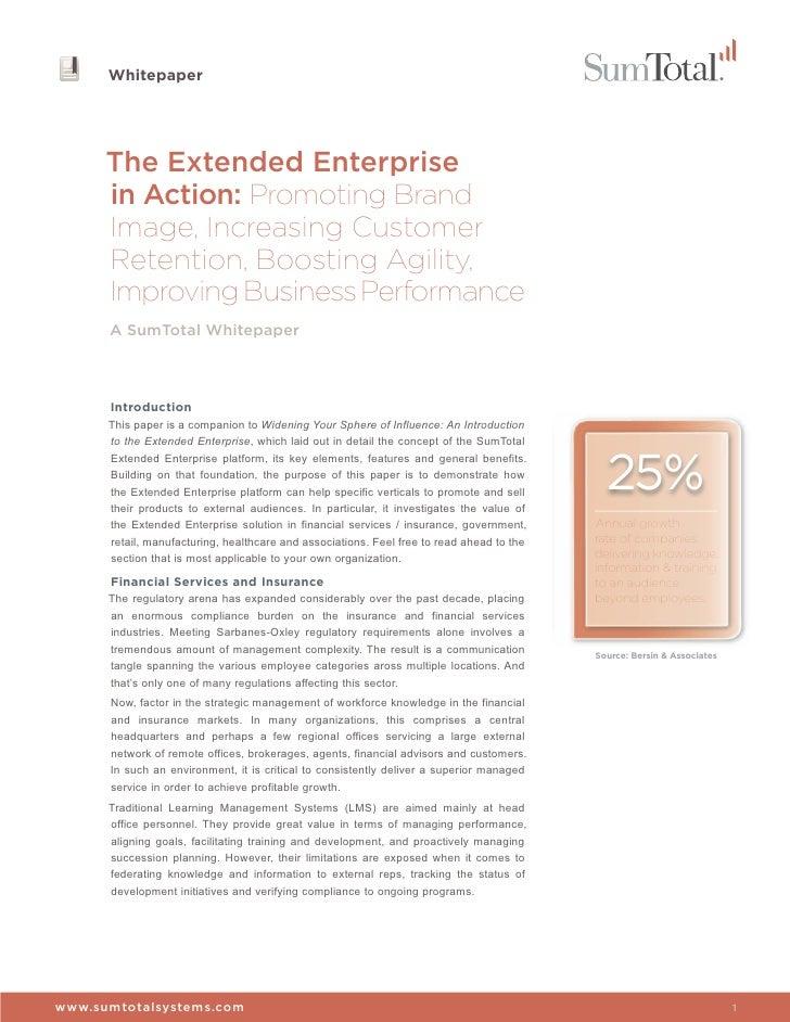 Whitepaper      The Extended Enterprise      in Action: Promoting Brand      Image, Increasing Customer      Retention, Bo...