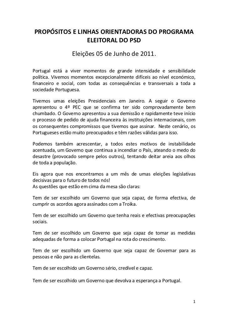 PROPÓSITOS E LINHAS ORIENTADORAS DO PROGRAMA                ELEITORAL DO PSD                  Eleições 05 de Junho de 2011...