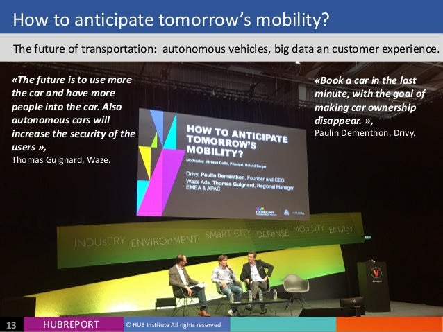 HUB  REPORTHUBREPORT ©  HUB  Institute  All  rights  reserved13 How  to  anticipate  tomorrow's  mobil...
