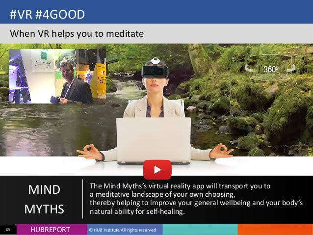 HUB  REPORTHUBREPORT ©  HUB  Institute  All  rights  reserved69 #VR  #4GOOD When  VR  helps  you  to...