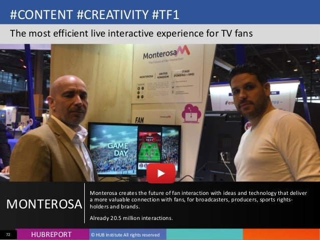HUB  REPORTHUBREPORT ©  HUB  Institute  All  rights  reserved72 #CONTENT  #CREATIVITY  #TF1 The  most  ...