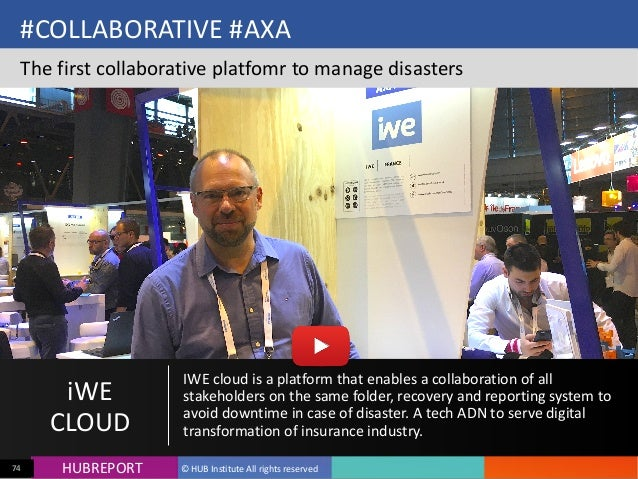 HUB  REPORTHUBREPORT ©  HUB  Institute  All  rights  reserved74 #COLLABORATIVE  #AXA   The  first  col...