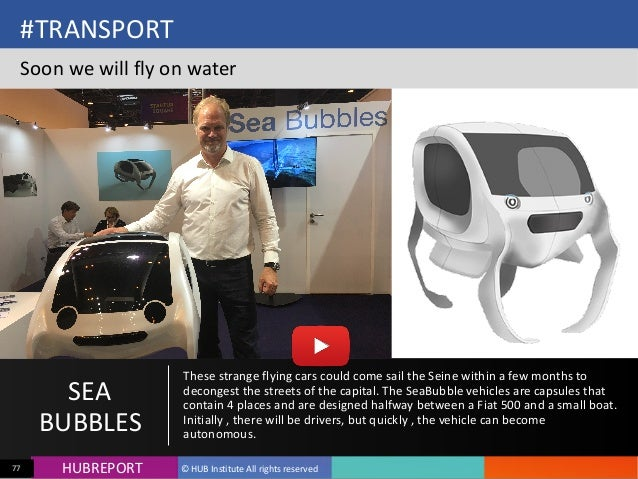 HUB  REPORTHUBREPORT ©  HUB  Institute  All  rights  reserved77 #TRANSPORT   Soon  we  will  fly  on...