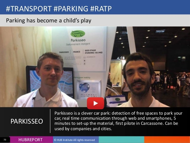 HUB  REPORTHUBREPORT ©  HUB  Institute  All  rights  reserved79 #TRANSPORT  #PARKING  #RATP Parking  has...