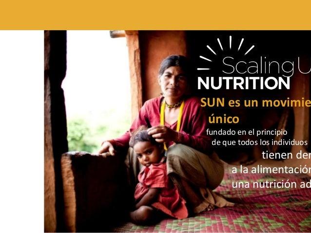 SUN es un movimie único fundado en el principio de que todos los individuos tienen der a la alimentación una nutrición ad