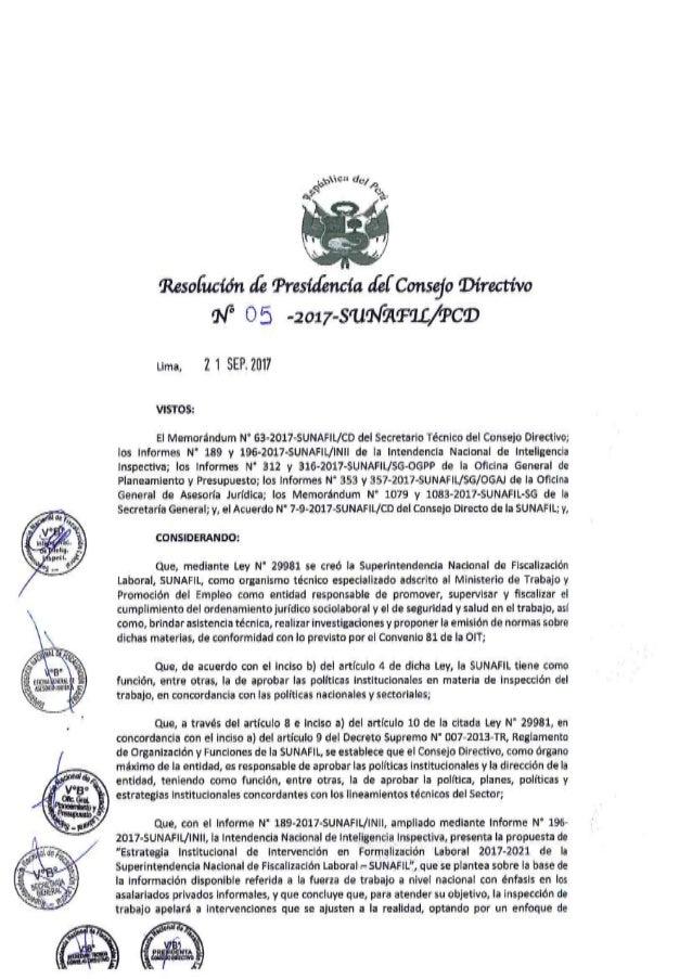 Sunafil   resolución nº 05-2017-pcd - aprueba estrategia institucional de intervención en formalización laboral 2017-2021