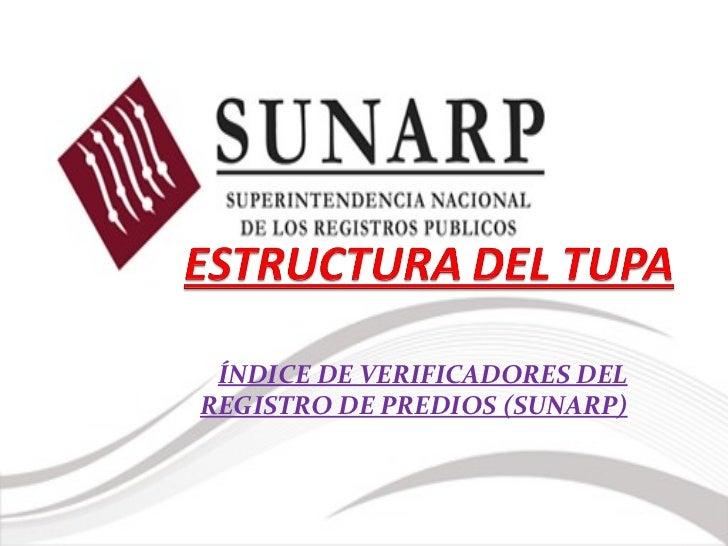 ÍNDICE DE VERIFICADORES DELREGISTRO DE PREDIOS (SUNARP)