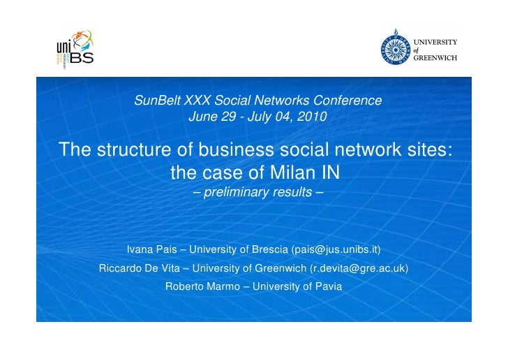 SunBelt XXX Social Networks Conference                     June 29 - July 04, 2010  The structure of business social netwo...