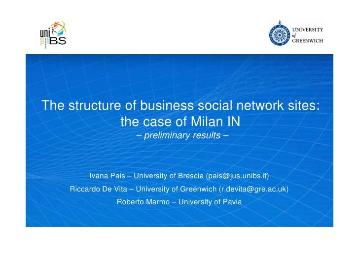 The structure of business social network sites: the case of MilanIN