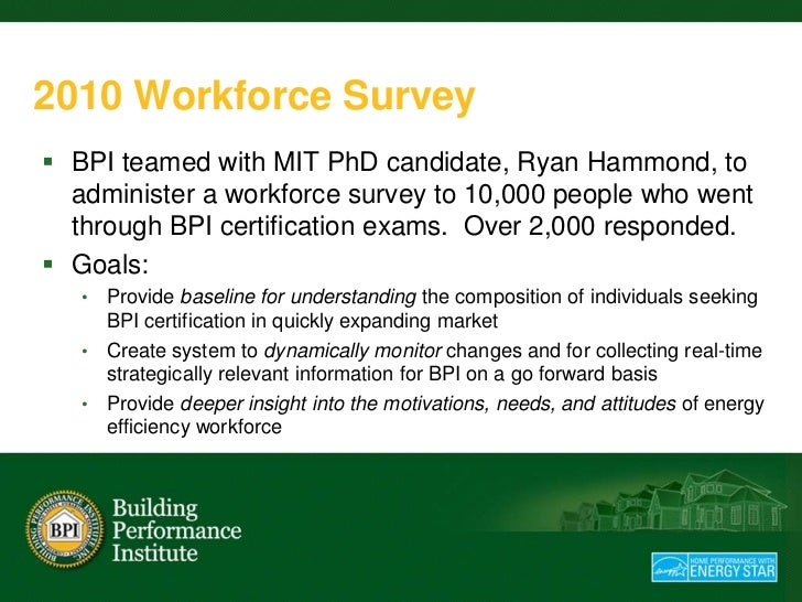 2010 Workforce Survey BPI teamed with MIT PhD candidate, Ryan Hammond, to  administer a workforce survey to 10,000 people...