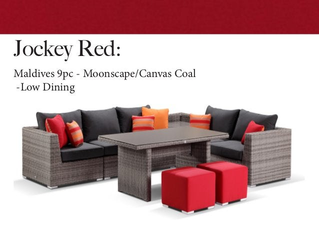 Jockey Red: Maldives 9pc - Moonscape/Canvas Coal -Low Dining