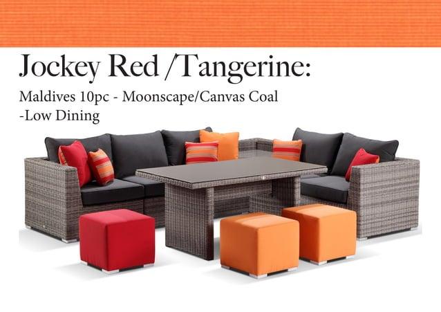 Jockey Red /Tangerine: Maldives 10pc - Moonscape/Canvas Coal -Low Dining