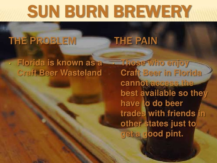 Sun Burn Brewery<br />The Problem<br />The Pain<br /><ul><li>Florida is known as a Craft Beer Wasteland
