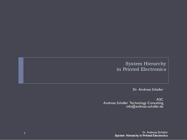 System Hierarchyin Printed ElectronicsDr. Andreas SchallerASCAndreas Schaller Technology Consultinginfo@andreas-schaller.d...