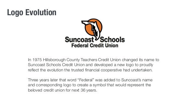 Logo Evolution  In 1975 Hillsborough County Teachers Credit Union changed its name to  Suncoast Schools Credit Union and d...