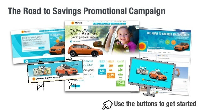 The Road to Savings Promotional Campaign  Use the buttons to get started