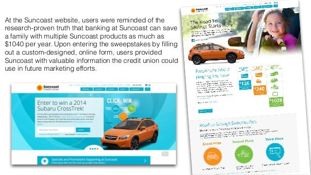 At the Suncoast website, users were reminded of the  research-proven truth that banking at Suncoast can save  a family wit...