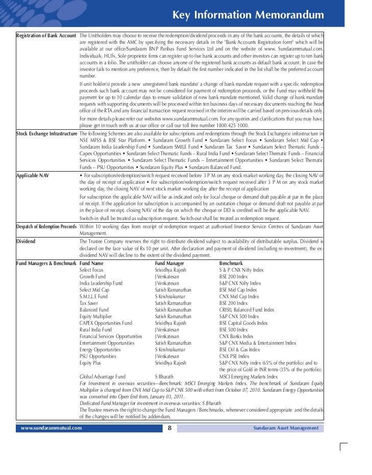 sundaram amc bank mandate change form