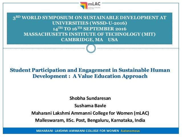 MAHARANI LAKSHMI AMMANNI COLLEGE FOR WOMEN Autonomous Student Participation and Engagement in Sustainable Human Developmen...