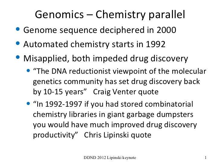 Genomics – Chemistry parallel <ul><li>Genome sequence deciphered in 2000 </li></ul><ul><li>Automated chemistry starts in 1...