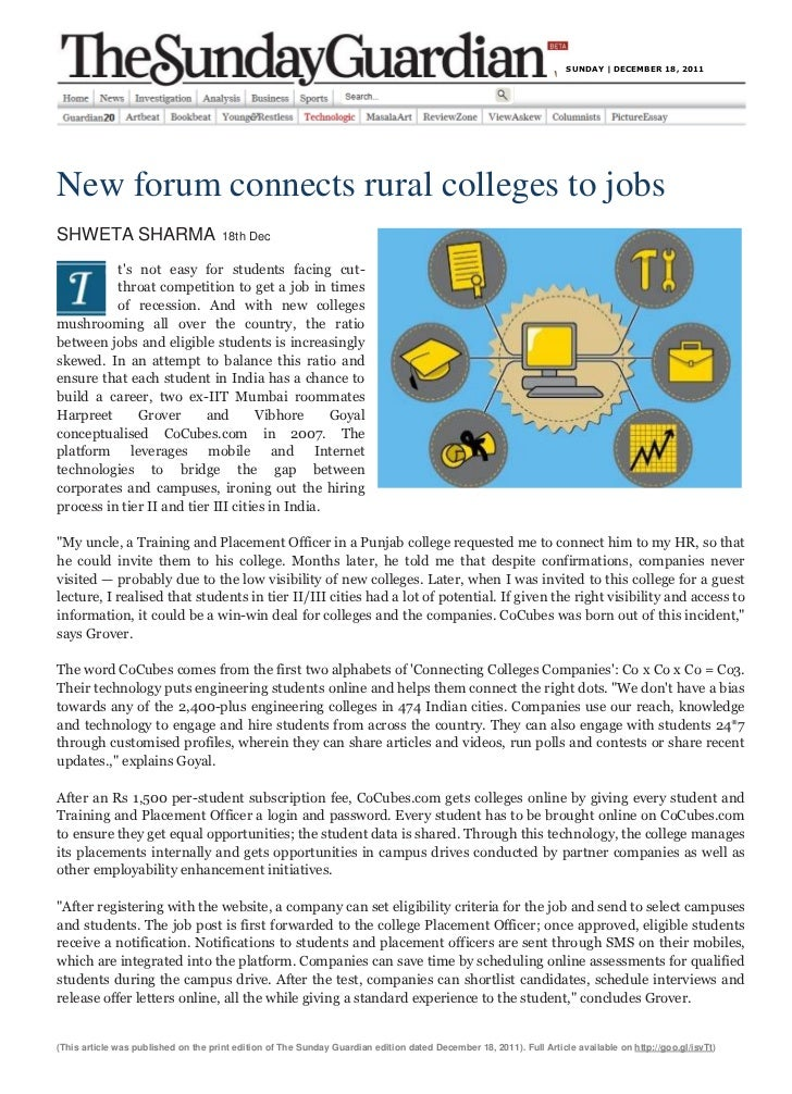 SUNDAY | DECEMBER 18, 2011New forum connects rural colleges to jobsSHWETA SHARMA                         18th Dec         ...