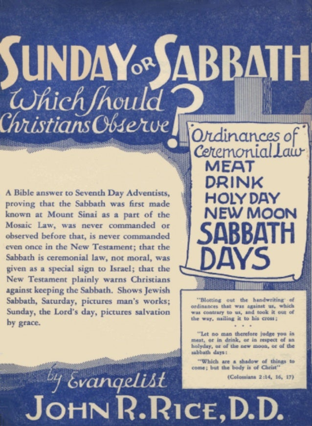 Sunday or Sabbath - John R. Rice
