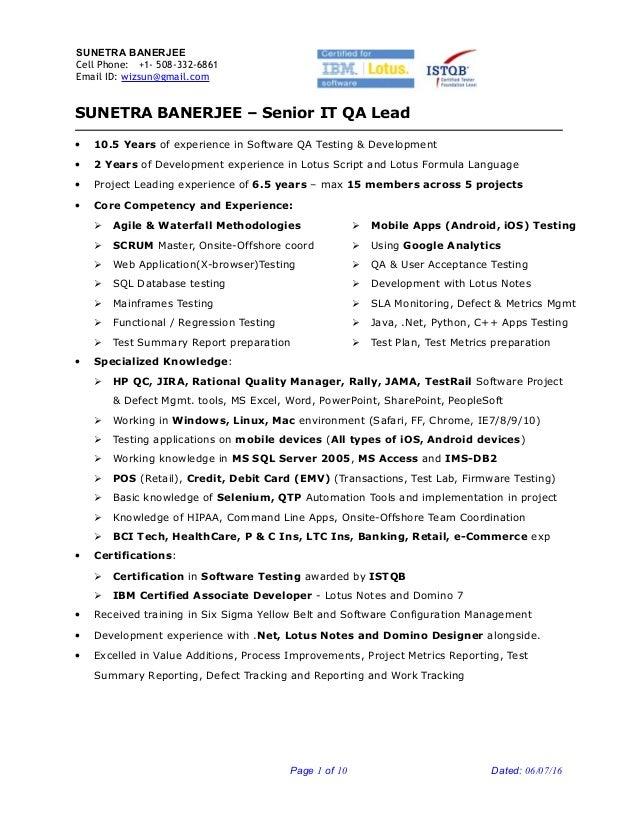 senior qa engineer resumes