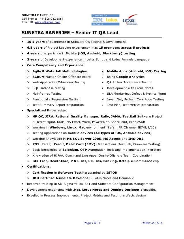 Sunetra Banerjee-Sr-QA-Engineer-Project-Lead Resume