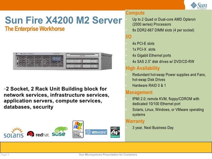 Sun fire x4100 m2, x4200 m2 server customer presentation