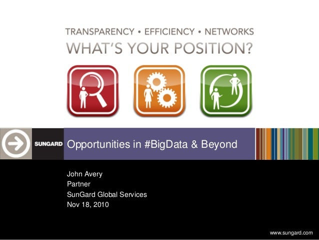 www.sungard.com Opportunities in #BigData & Beyond John Avery Partner SunGard Global Services Nov 18, 2010