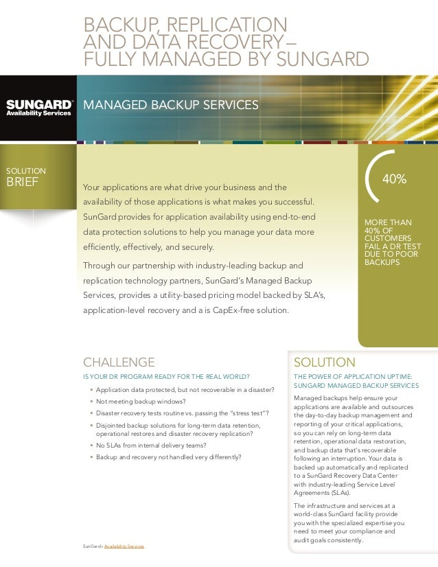 BACKUP, REPLICATION AND DATA RECOVERY– FULLY MANAGED BY SUNGARD MANAGED BACKUP SERVICES  SOLUTION  BRIEF BRIEF  40%  You...