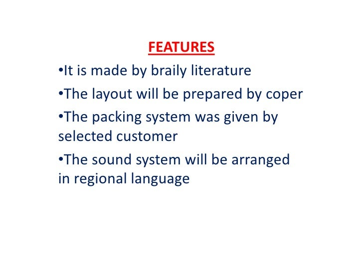 FEATURES•It is made by braily literature•The layout will be prepared by coper•The packing system was given byselected cust...