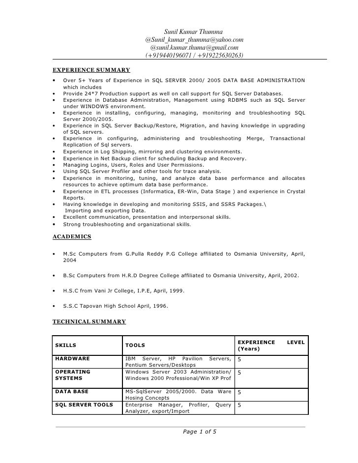Sunil kumar thumma resume for Oracle dba sample resume for 2 years experience