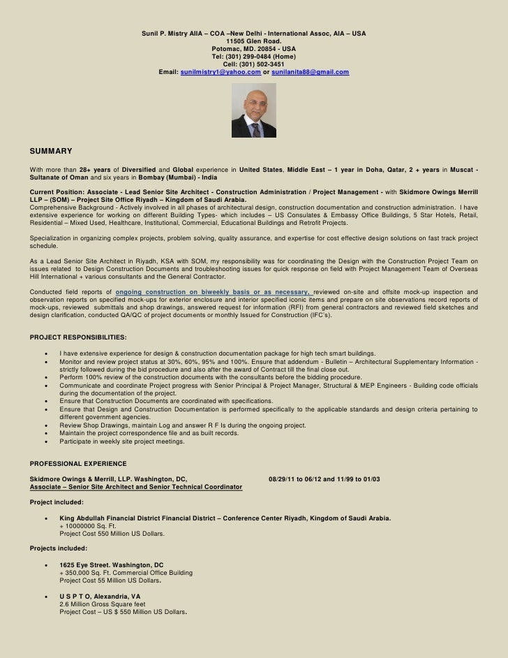 Sunil P. Mistry AIIA – COA –New Delhi - International Assoc, AIA – USA                                                    ...
