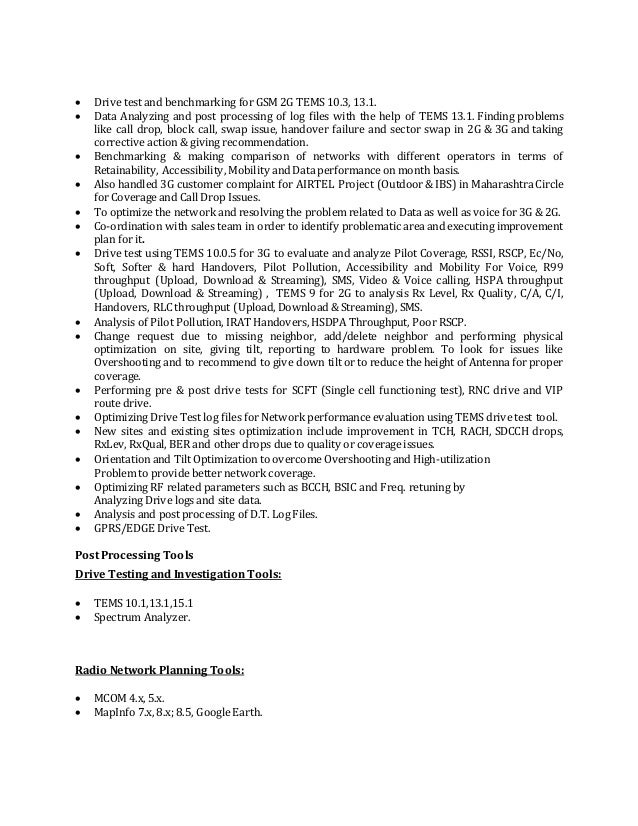 expertise 3 drive test - Rf Drive Test Engineer Sample Resume