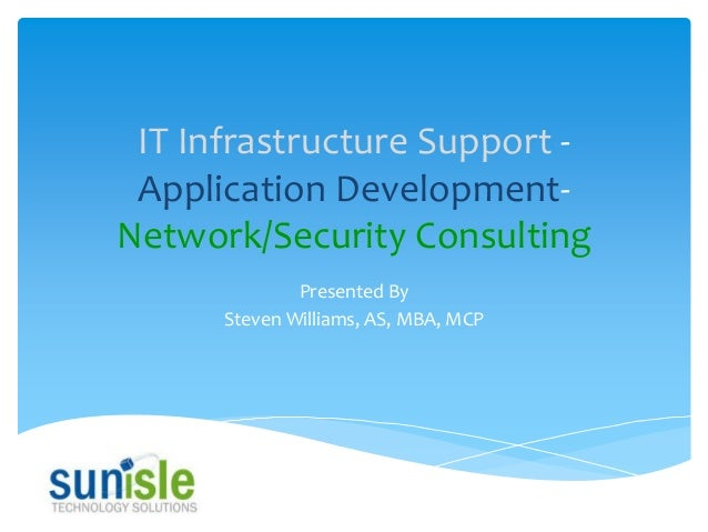 IT Infrastructure Support Application DevelopmentNetwork/Security Consulting Presented By Steven Williams, AS, MBA, MCP