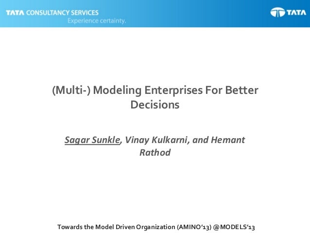1Towards the Model Driven Organization (AMINO'13) @MODELS'13 (Multi-) Modeling Enterprises For Better Decisions Sagar Sunk...