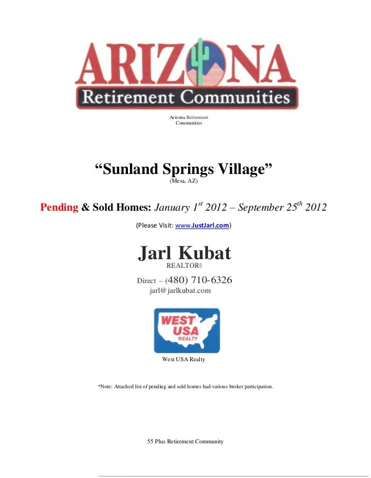 "Arizona Retirement                                               Communities           ""Sunland Springs Village""          ..."